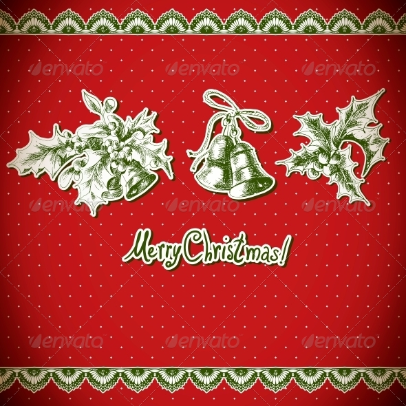 GraphicRiver Christmas Holly and Bell Vintage Background 6425705