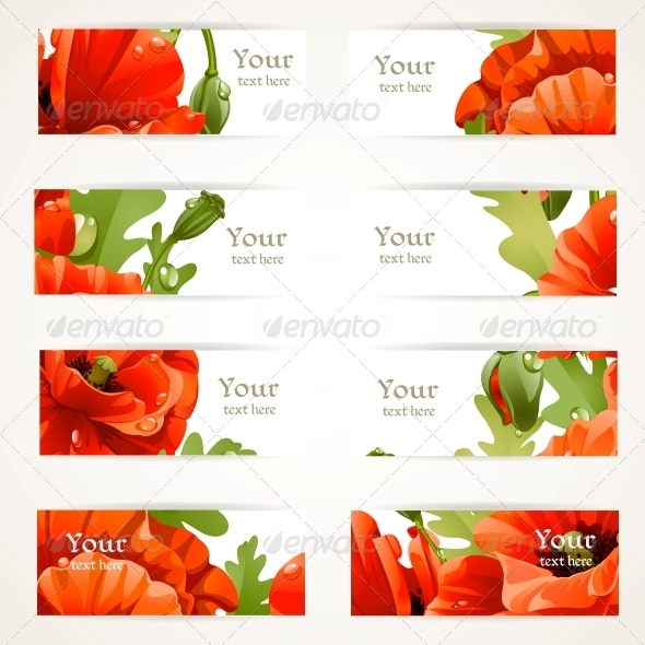 GraphicRiver Set l Banners with Fragments of Red Poppies 6425895