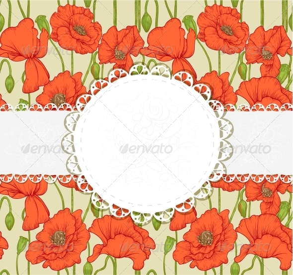 GraphicRiver Elegant Vintage Postcard with Poppies 6425927