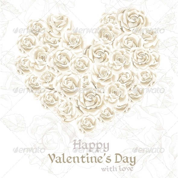 GraphicRiver Valentine s Day Banner with White Roses 6426167