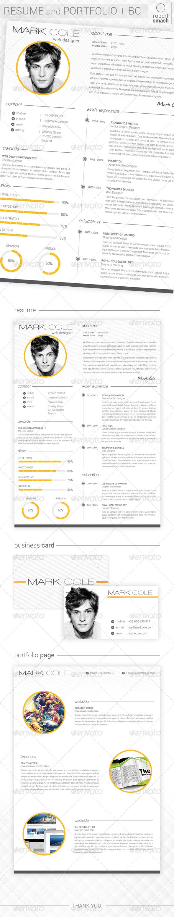 GraphicRiver Clean Resume & Portfolio & BC 6426180
