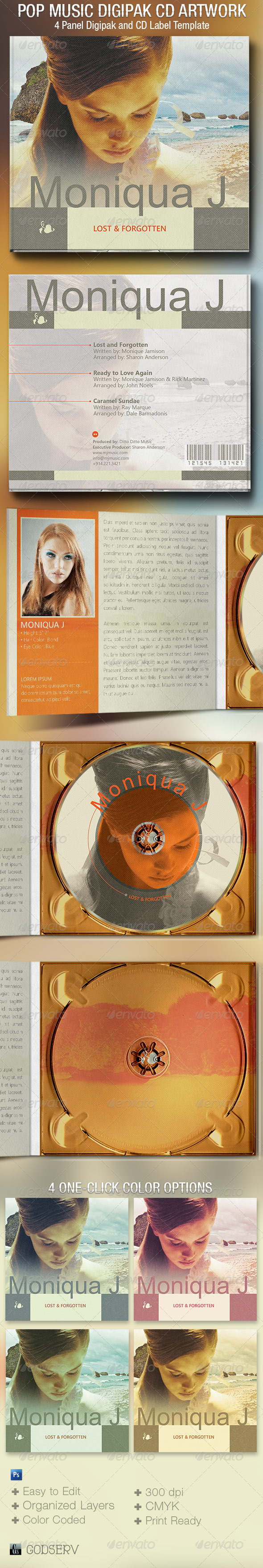 GraphicRiver Pop Music 4 Panel Digipak CD Artwork Template 6426189