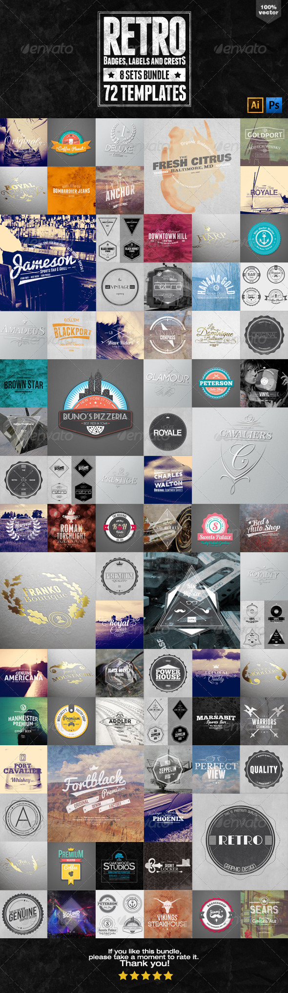 GraphicRiver 72 Retro Badges Labels and Crests Bundle 6426736