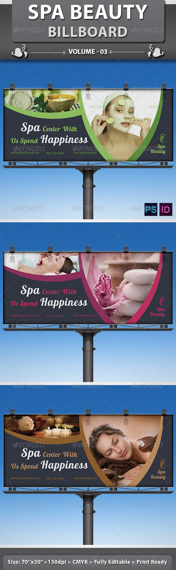 Spa & Beauty Saloon Billboard | Volume 5 - Signage Print Templates