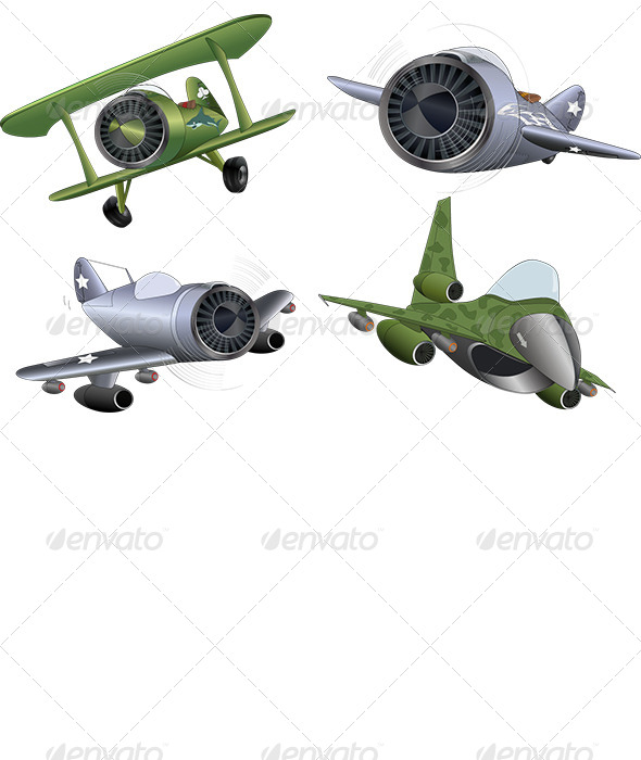 GraphicRiver The Military Planes Clip Art 6427435