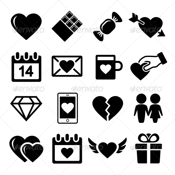 GraphicRiver Valentine Day Love Icons Set 6428397