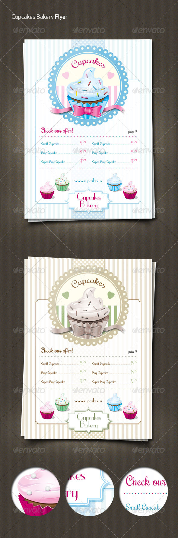GraphicRiver Cupcakes Retro Menu Flyer 6428500