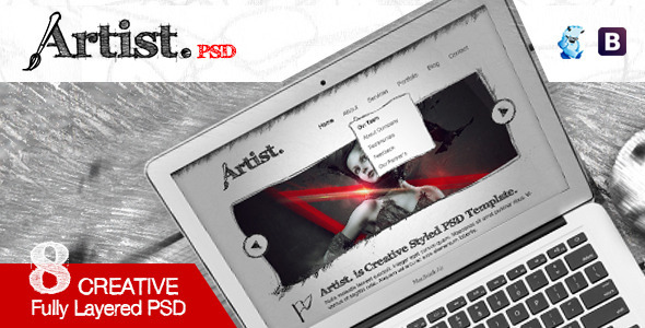 Artist Sketch PSD Template - Creative PSD Templates