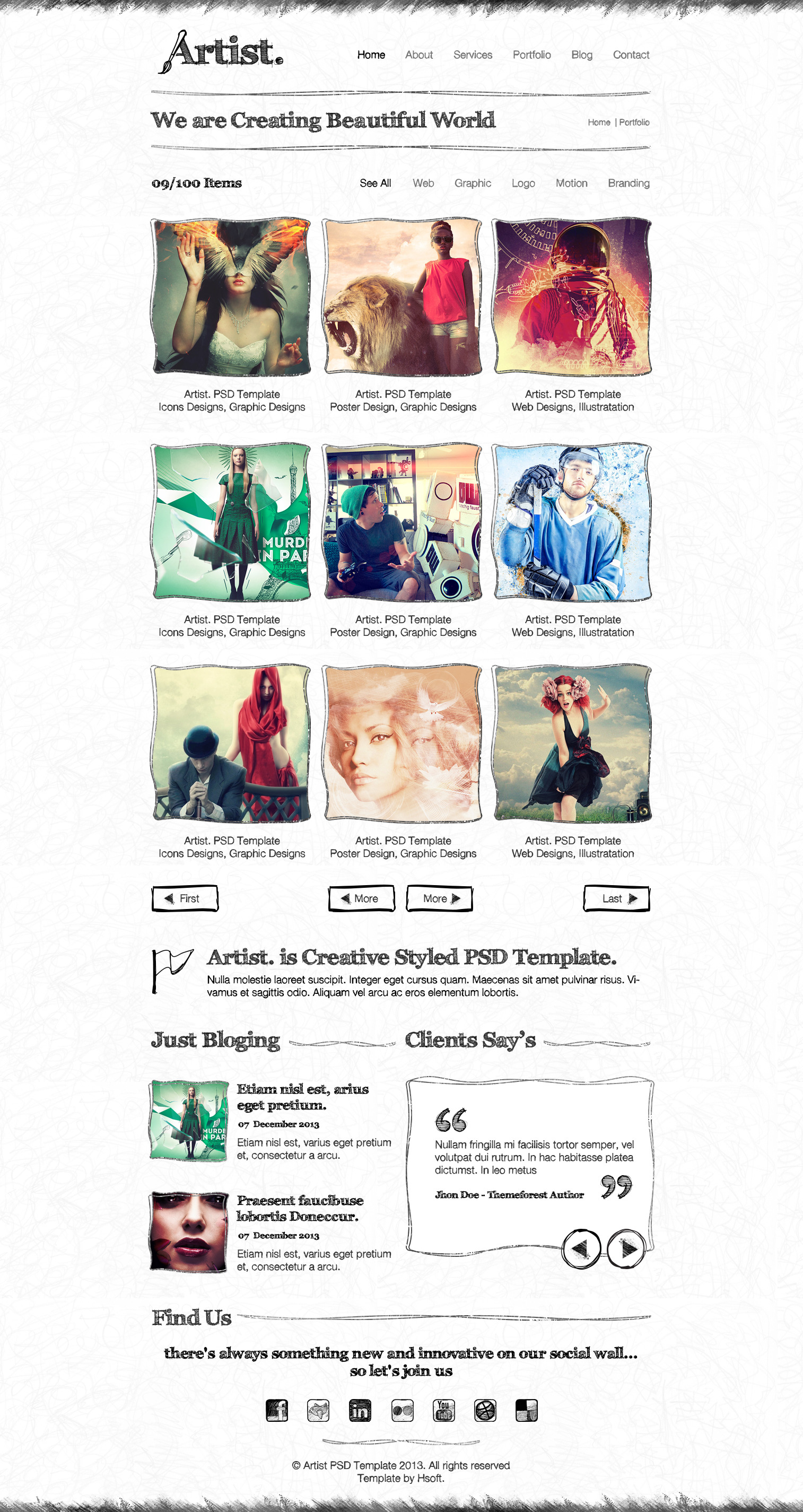 Artist Sketch PSD Template
