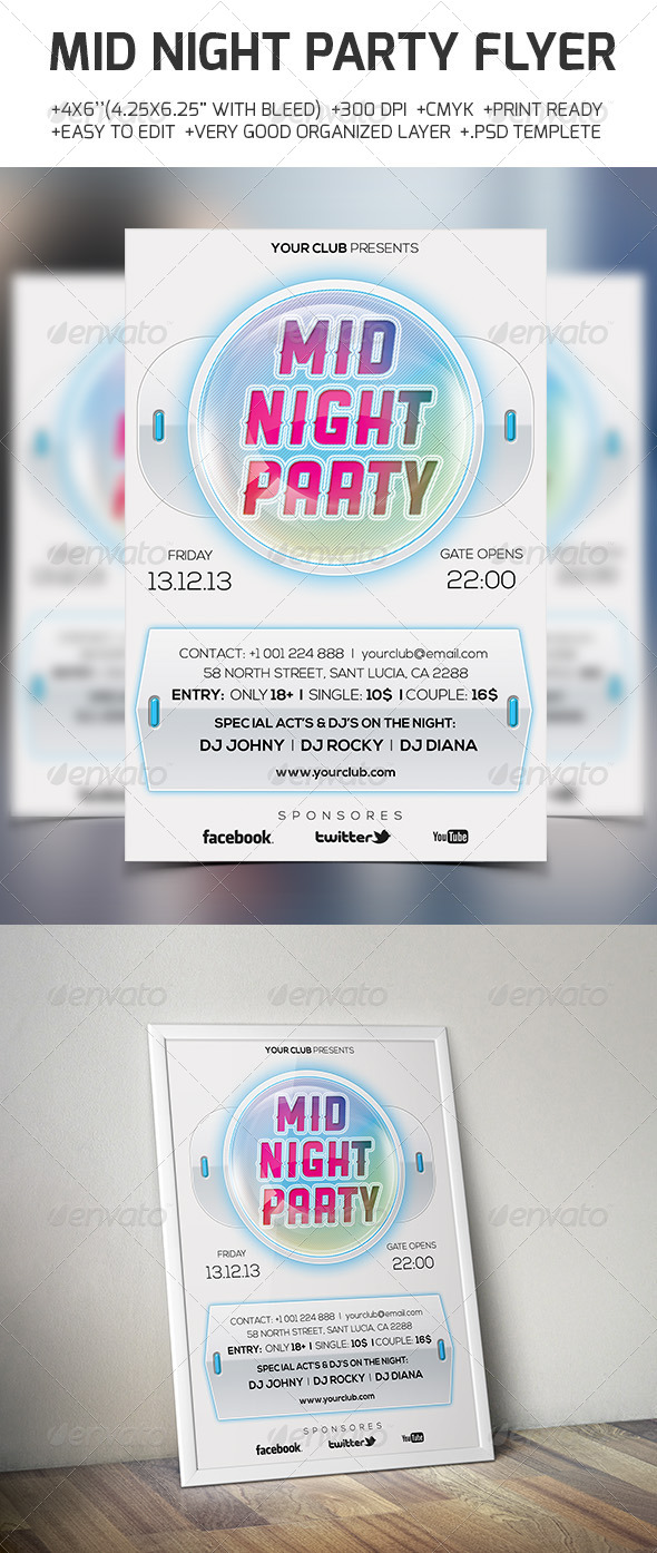 GraphicRiver Mid Night Party Flyer 6395329