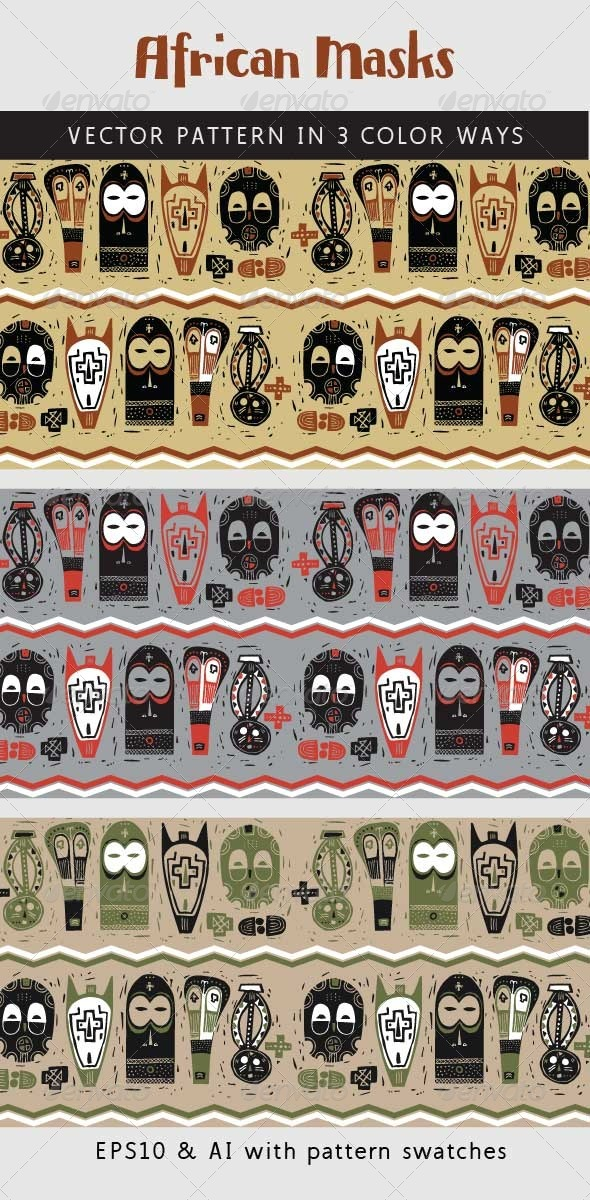 GraphicRiver African Art Masks Woodcut Print Pattern 6429339