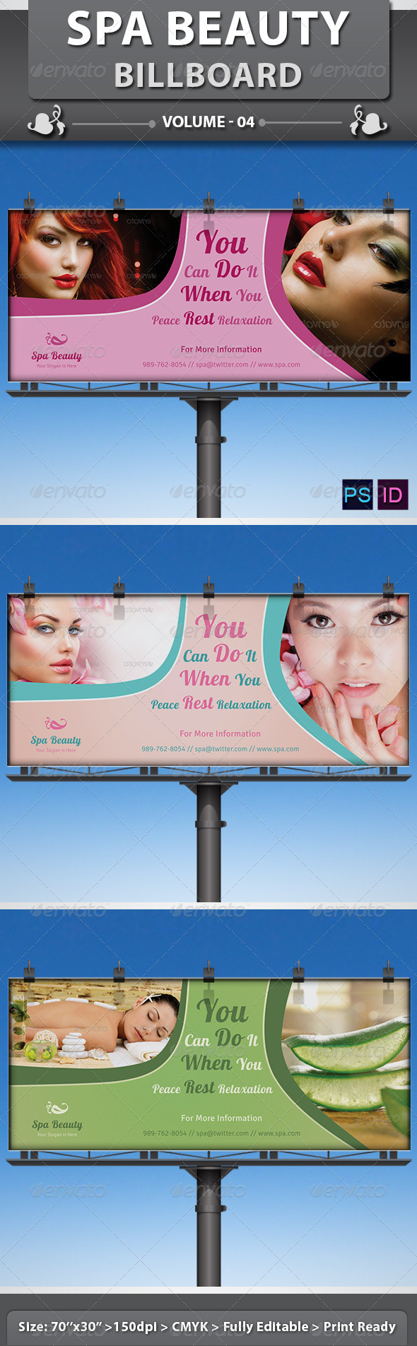 Spa & Beauty Saloon Billboard | Volume 7 - Signage Print Templates