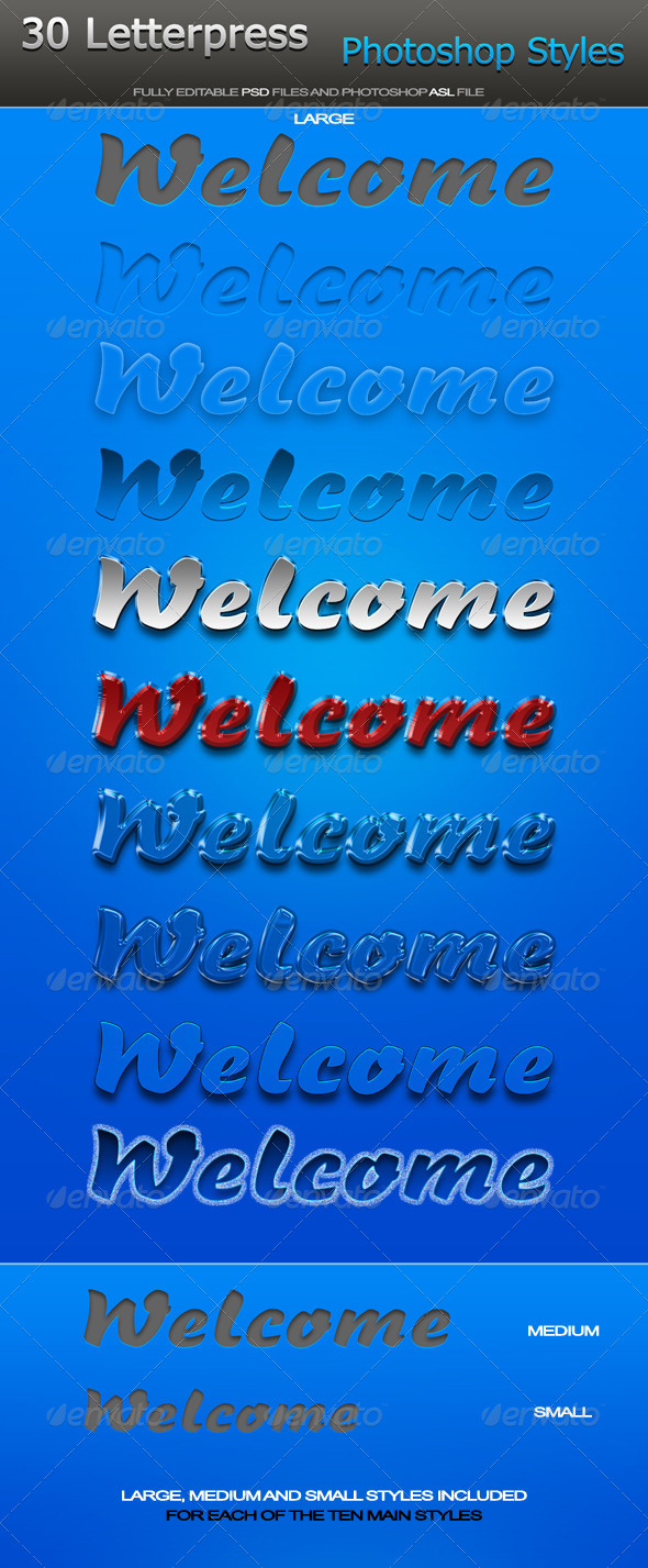 GraphicRiver Welcome Letterpress Photoshop Styles 6395533