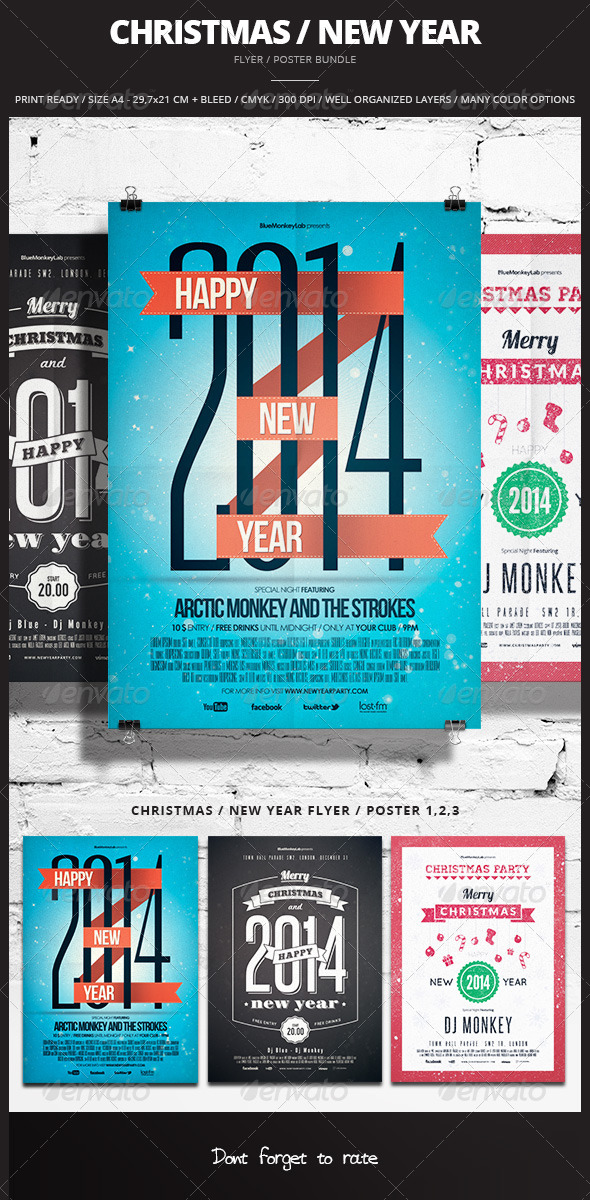 GraphicRiver Christmas New Year Flyer Poster Bundle 6429488