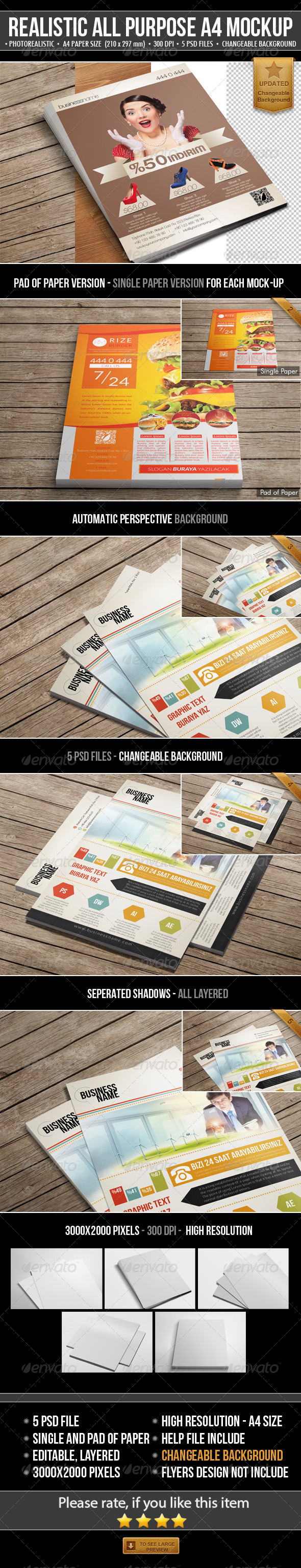 Realistic All Purpose A4 Mock-Up - Flyers Print