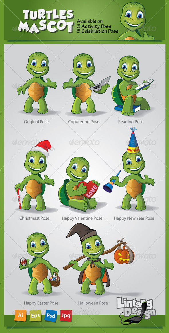 GraphicRiver Turtle Mascot-001 6419047