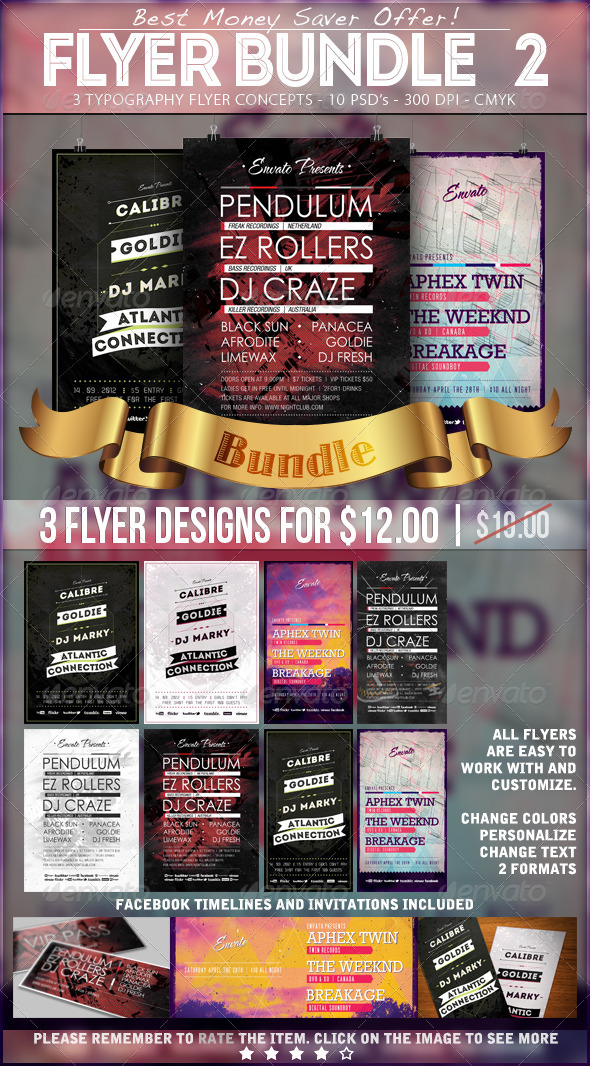 Typography Party Flyer Bundle 2 - Events Flyers