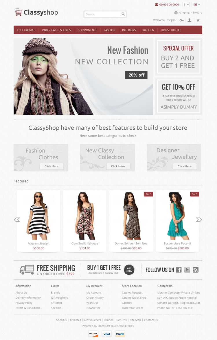 Classy Shop - Responsive OpenCart Template