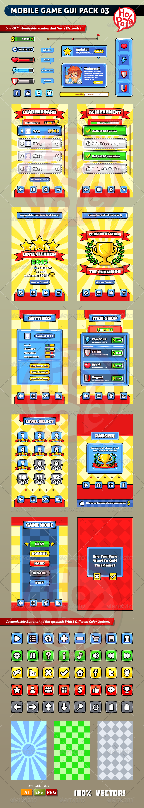Mobile Game GUI Pack 03 - Web Elements Vectors