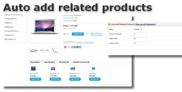 Auto add related products for OpenCart