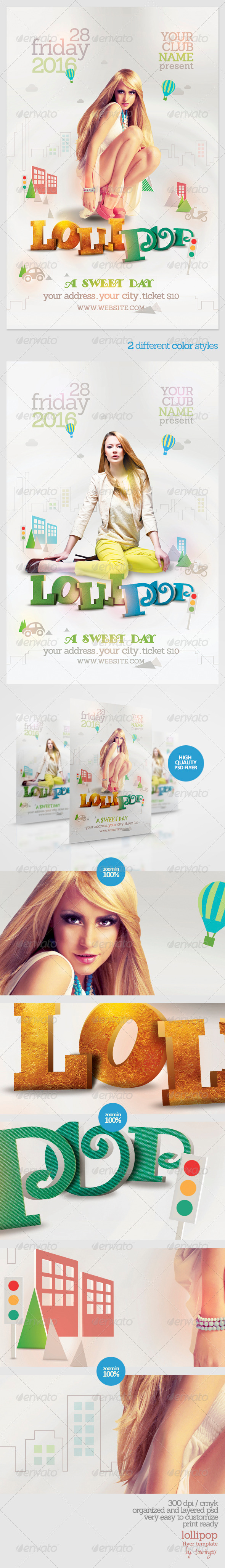 Lollipop Flyer Template - Clubs & Parties Events