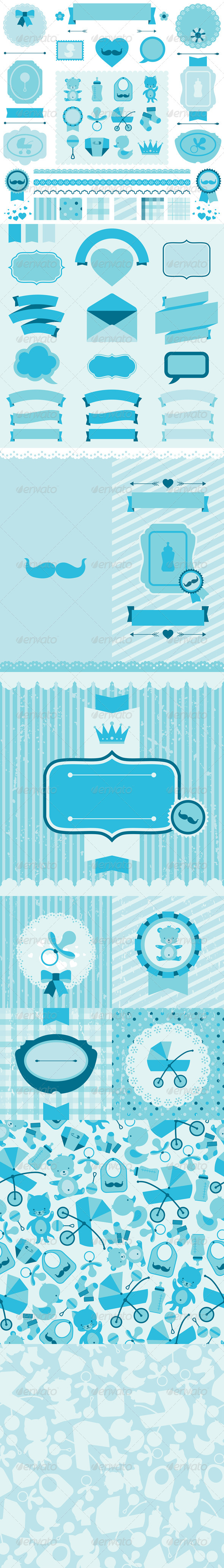 GraphicRiver Boy Baby Shower Elements Backgrounds 6430654