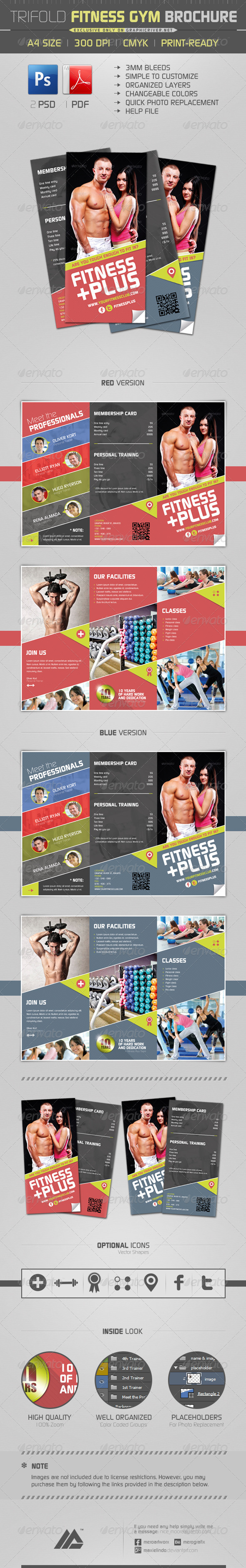 GraphicRiver Trifold Fitness Gym Brochure PSD 6382671