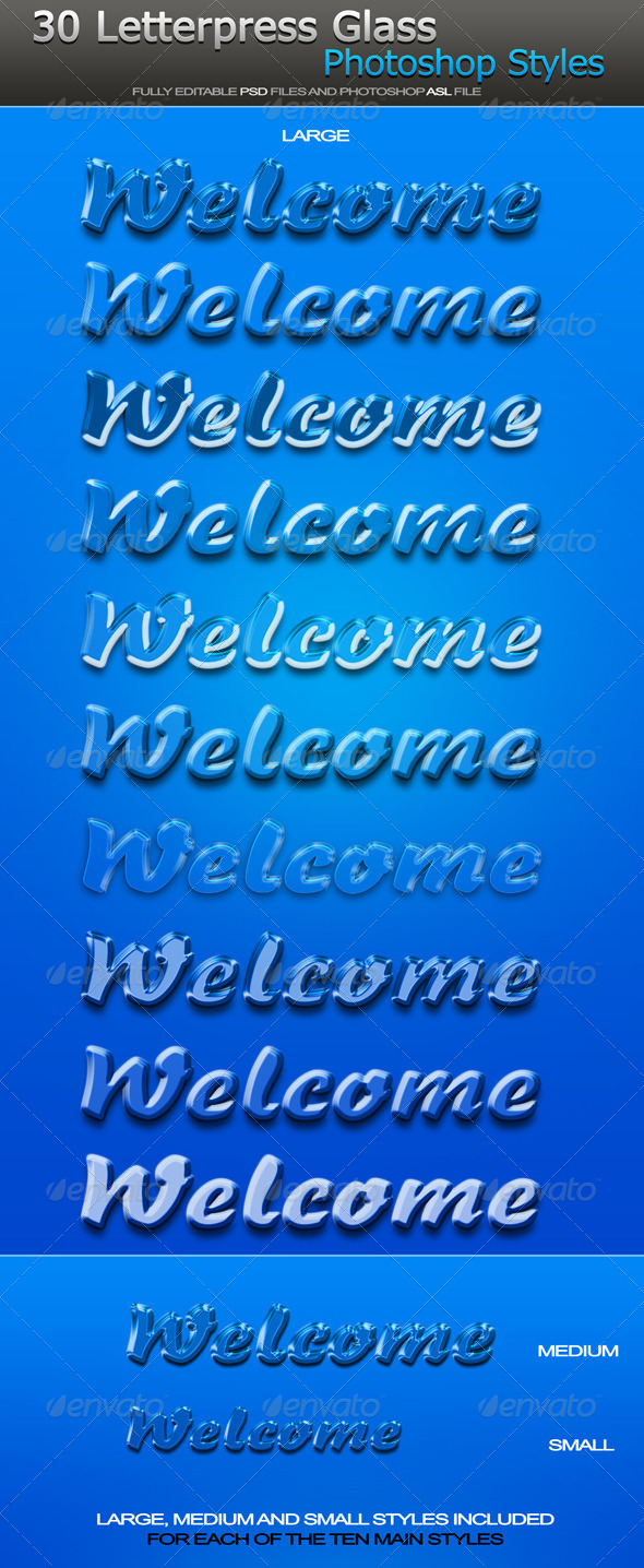GraphicRiver Welcome Letterpress Glass Photoshop Styles 6430808