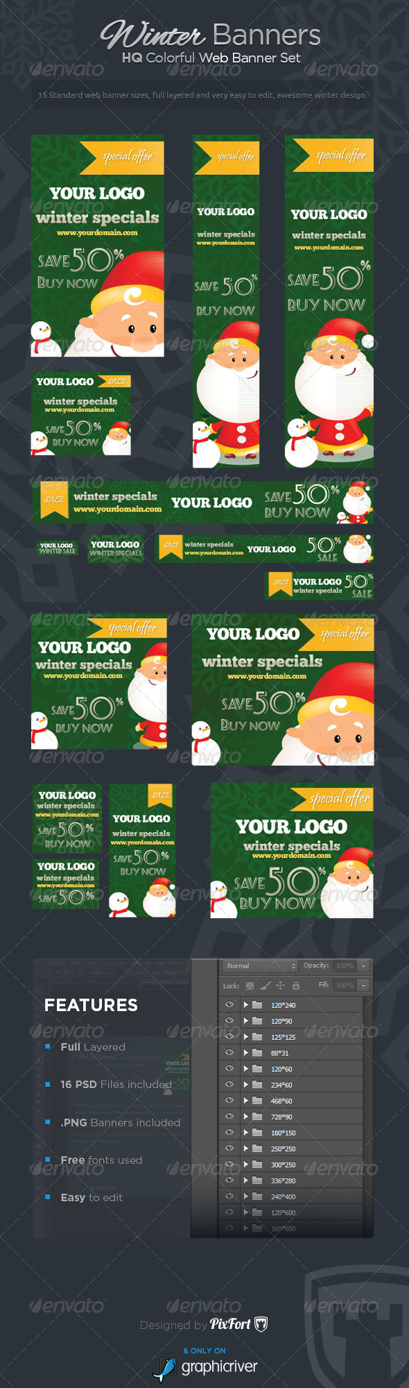 GraphicRiver Winter Banners Winter Specials Banner Set 6430877