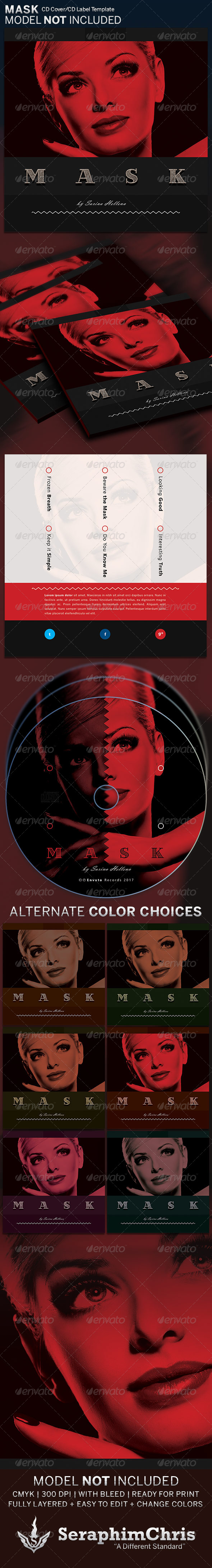 GraphicRiver Mask CD Cover Artwork Template 6397810