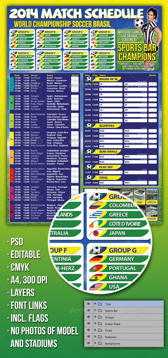 GraphicRiver Soccer Match Schedule 2014 in Brazil 6398713