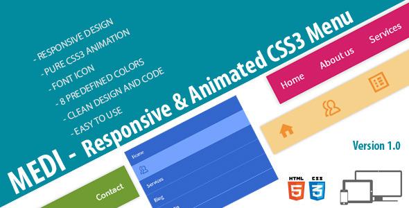 CodeCanyon MEDI Responsive & Animated CSS3 Menu 6431503