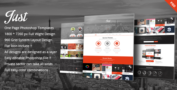 Just  - One Page Web Templates Design - Creative PSD Templates