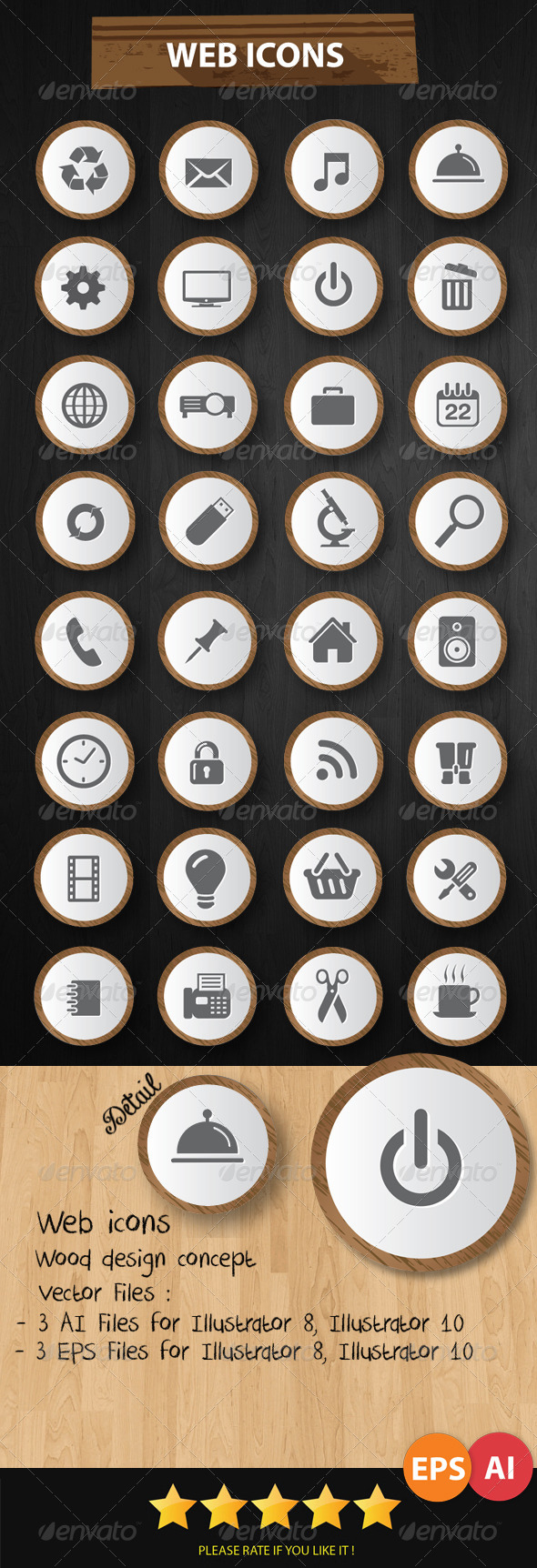 GraphicRiver Web Icons Wood Style 6432305