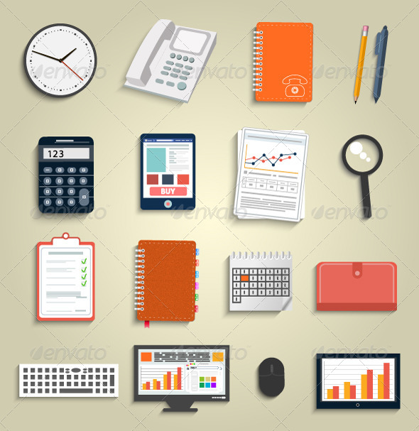 GraphicRiver Set of Office and Business Work Elements 6431491