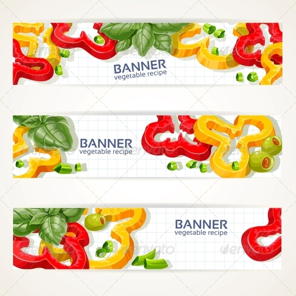 GraphicRiver Horizontal Banners with Peppers and Basil 6432546