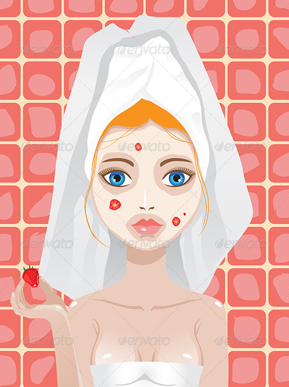 GraphicRiver Woman with Strawberry Mask on Her Face 6432653