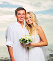 Bride and Groom, Romantic Newly Married Couple on the Beach, Jus