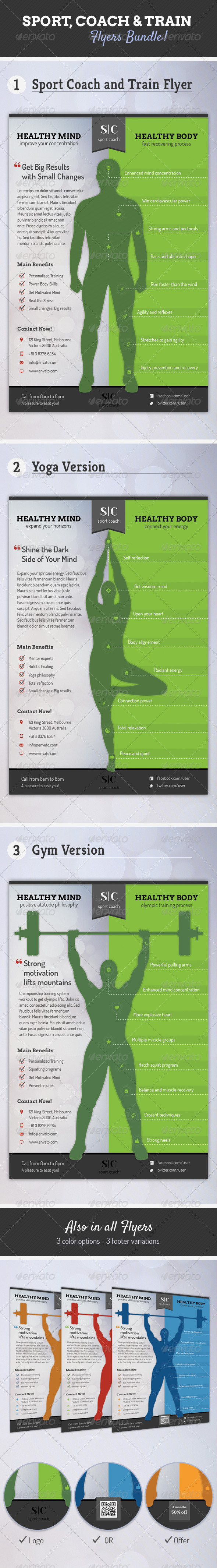 GraphicRiver Sport Coach and Train Flyers Bundle 6433104