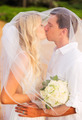 Bride and Groom, Romantic Newly Married Couple Kissing at the Be