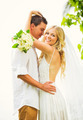 Bride and Groom, Romantic Newly Married Couple Embracing, Just M