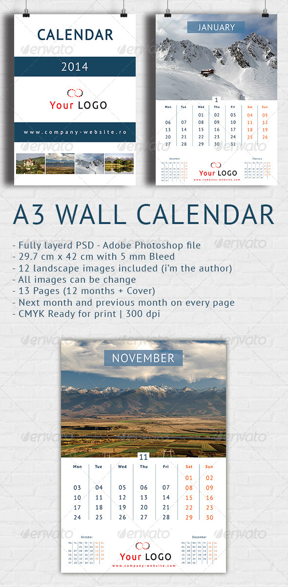 GraphicRiver Wall Calendar 2014 A3 6401622