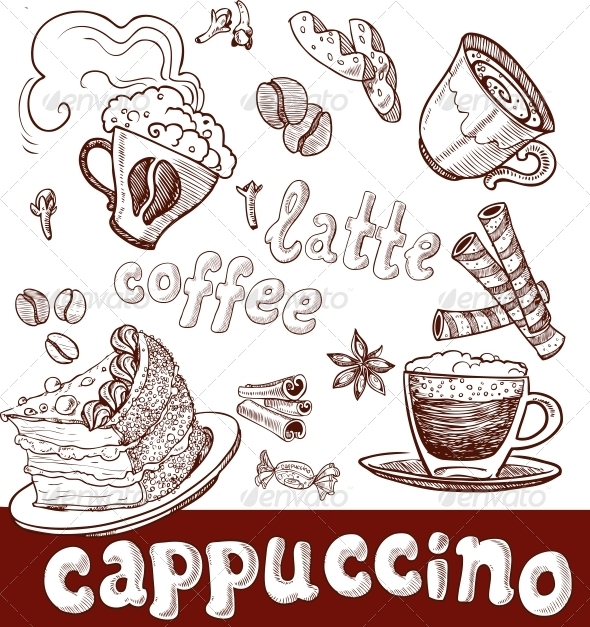 GraphicRiver Coffee Cappuccino Late and Sweets Handwriting 6433473