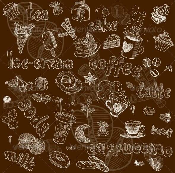 GraphicRiver Sweet Seamless Pattern with Drinks and Sweets 6433502