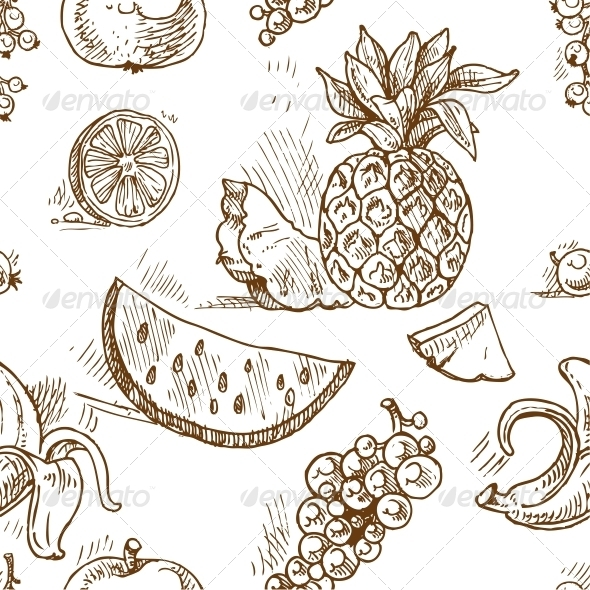 GraphicRiver Seamless Pattern of Tropical Fruit Doodles 6433546