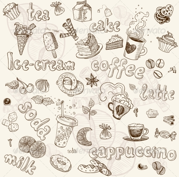 GraphicRiver Sweet Seamless Pattern with Drinks and Sweets 6433550
