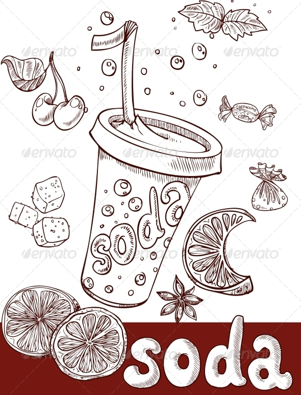 GraphicRiver Sweet Soda with Fruit and Sweets Handwriting 6433552