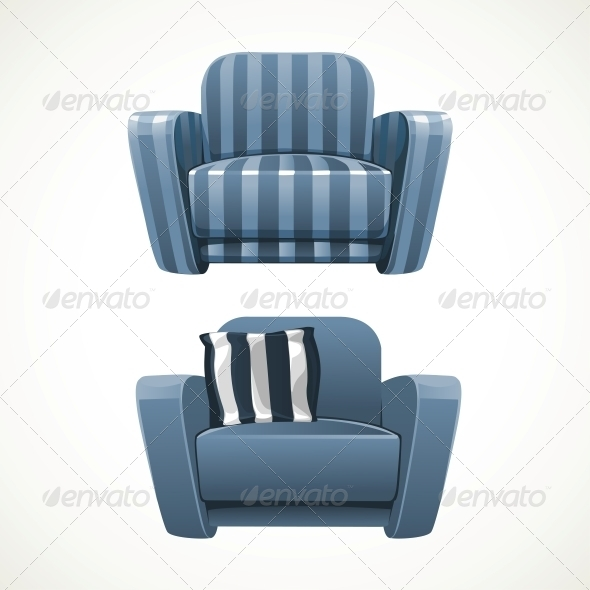 GraphicRiver Blue Soft Stripped Armchair 6433765
