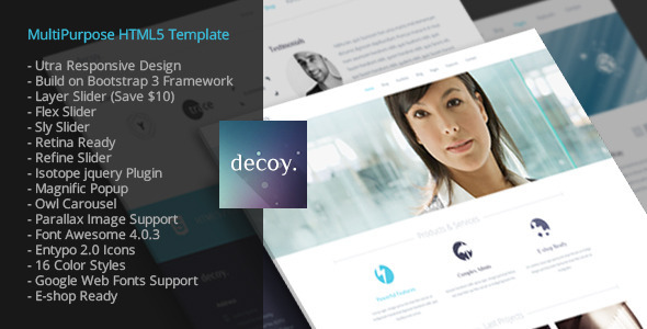 ThemeForest decoy multipurpose HTML5 template 6433829