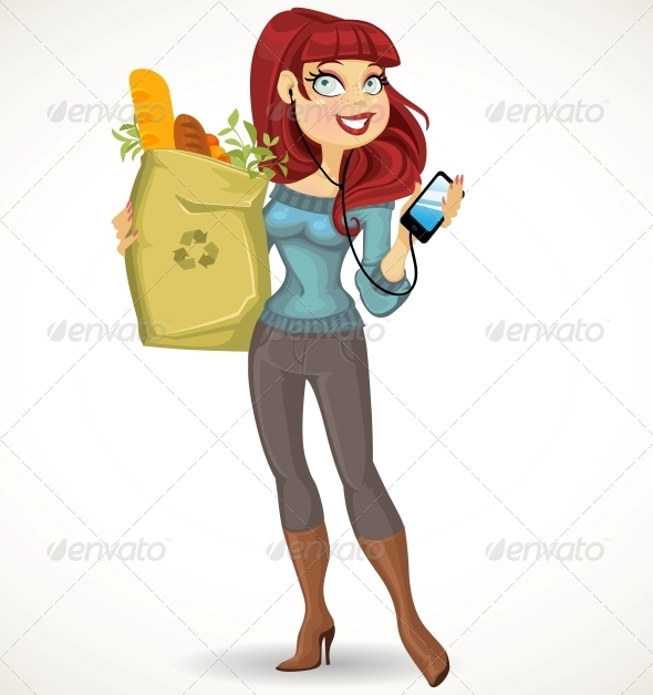 GraphicRiver Woman with the Health Food Package and Phone 6434205